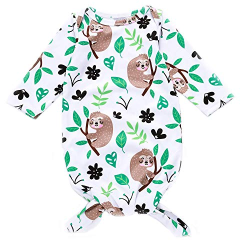Newborn Infant Baby Girls Monkey Animal Sleeper Gown Floral Sleepwear Romper Long Sleeve Nightgowns Outfits