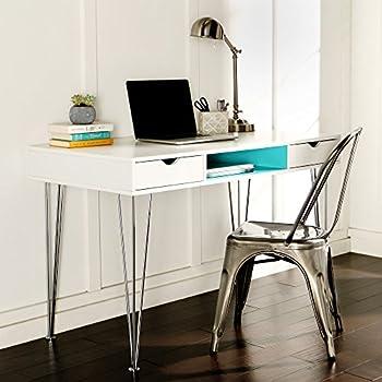 amazon com we furniture 48 wood computer desk blue kitchen dining