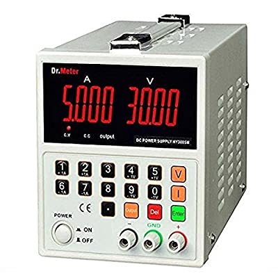 Dr.Meter HY3005M Series Variable 0-30V, 0-5A Regulated Switching DC Power Supply Input Voltage 104-127V with Banana to Alligator Cable