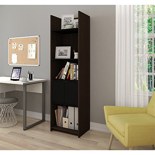 Bestar Small Space 20'' Storage Tower in Dark Chocolate and Black