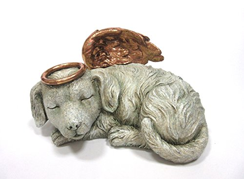 Pet Memorial Angel Dog Sleeping Cremation Urn Memorial Statue Bottom Load 30 Cubic Inch