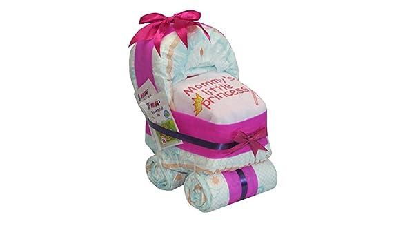 Tarta hecha con pañales. Diseño de cochecito de bebé rosa.: Amazon.es: Bebé