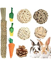 Wirlsweal Rabbit Chew Toys, Pet Bunny Teeth Grinding Toys, Small Animal Chew Treat - 100% Natural Materials Handmade for Bunny/Chinchilla/Guinea Pig/Hamsters/Rat(9 Pack)