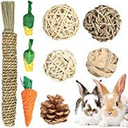 Wirlsweal Rabbit Chew Toys, Pet Bunny Teeth Grinding Toys, Small Animal Chew Treat - 100% Natural Materials Ha