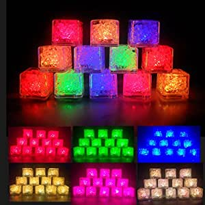 Ice Cubes Light Sensor Ice Cubes Shape Lights Decorative LED Liquid Submersible LED Glow Light Up for Bar Club Wedding Party Champagne Tower Decoration (36)