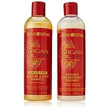 CREME OF NATURE Argan Oil Moisture Shine Shampoo & Intensive Treatment Set, 12 oz by Creme of Nature