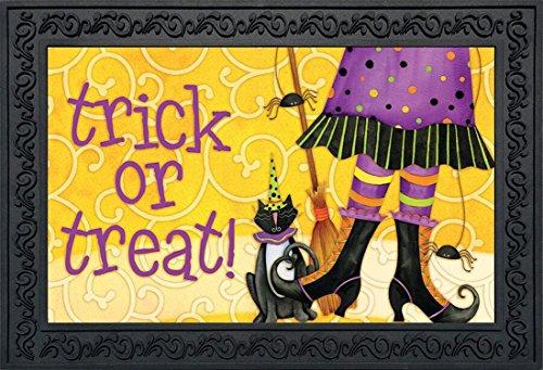 Briarwood Lane Trick or Treat Witch Halloween Doormat Black Cat Broom Indoor Outdoor 18