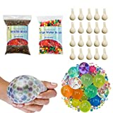 TOAOB 50000 Small water beads 100 Large Jumbo water beads 20 Balloons Biodegradable Non Toxic Water Beads Kids Tactile Sensory Toys Vase Filler Wedding Centerpiece Home Decoration Plants