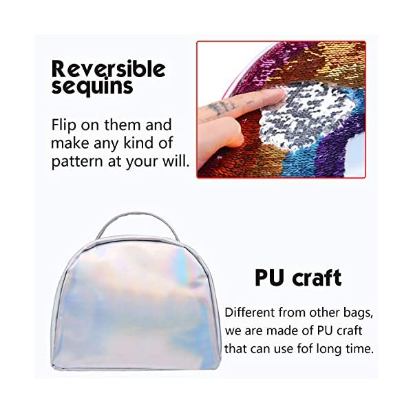 IAMGlobal Insulated Mermaid Lunch Box, Reversible Sequin Lunch Tote Bag, Lunch Box Insulated Lunch Bag For Girls Boy 6