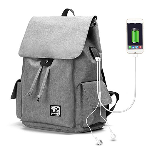 JUND Herren Leinwand Daypack Wasserdicht Laptop Rucksack Outdoor Freizeit Schultasche Jungen Schule Schulrucksack Einfarbig Mode Backpack grau rrhIpLz