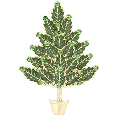 EVER FAITH® Arbre de Noël Beaucoup de Feuilles Cristal Autrichien Email Ton d'Or N04517-1