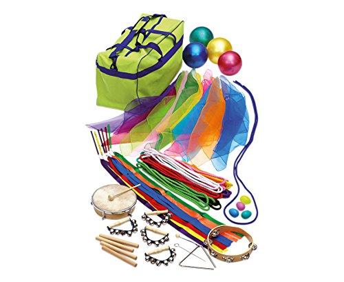 Rhythmik - Set, Großes Paket mit 45 Teilen, Musik Schule Bewegung Kinder Musik-Unterricht inkl. Rhythmikseile, Klangstäbe, Chiffon Tücher, uvm., in praktischer Aufbewahrungstasche