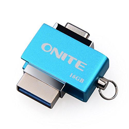 Onite Blue Reversal 2 in 1 Type C USB 3.0 OTG Flash Drive External Storage for New MacBook Pro, Google Pixel XL, Moto Z, Samsung Galaxy S8 Plus, Note 8 (32G)