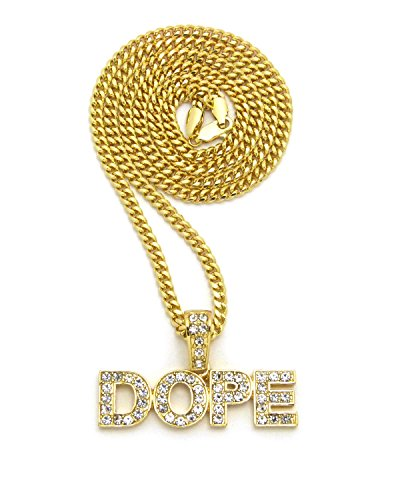 NEW ICED OUT DOPE PENDANT & 24
