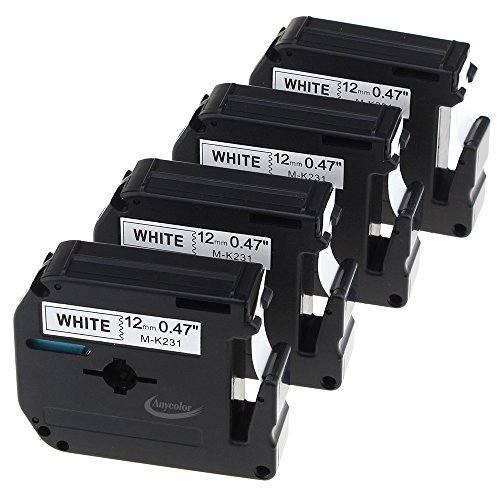 Anycolor 4 Pack Compatible Brother P-touch M Tape M231 MK231 M-K231 Black on White Label Tape for Brother P Touch Label Maker PT-90 PT-M95 PT-70BM PT-65 PT-85 PT-45 (0.47 Inch x 26.2 Feet 12mm x 8m)