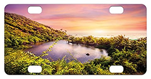 Landscape Mini License Plate by Lunarable, Tropical Asia Goa Arambol Beach Sweet Lake with Forest Trees Scenery Artwork, High Gloss Aluminum Novelty Plate, 2.94 L x 5.88 W Inches, - Goa Light