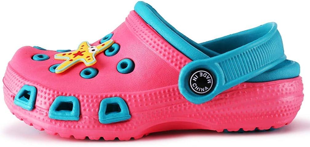 Zuecos Unisex Ni/ños Verano Sandalias de Playa Respirable Antideslizante Piscina Jard/ín Zapatos Rosado Azul 28 EU=Etiqueta 29