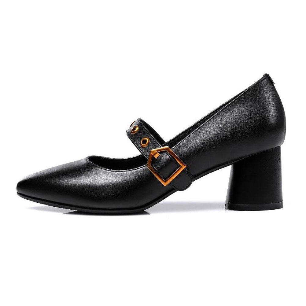CJC Schuhe Flach Mund Damen Frau Mitte Absätze Elegant Büro Arbeit (Farbe   schwarz, Größe   EU36 UK3.5)