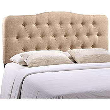 Modway Annabel Upholstered Tufted Button Fabric Headboard Queen Size In Beige