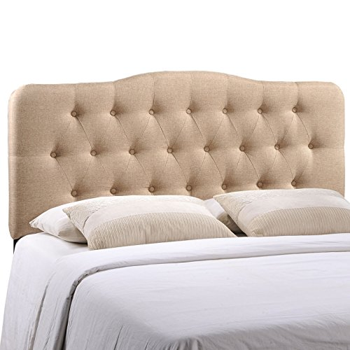 Modway Annabel Tufted Button Linen Fabric Upholstered Queen Headboard in Beige (Buy Headboard Tufted)