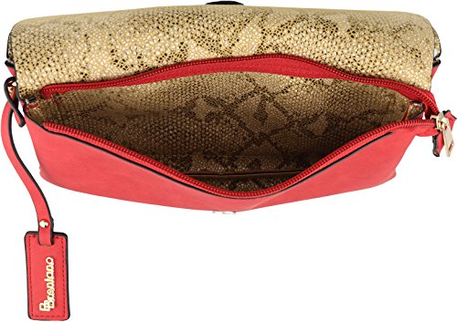 Vegan Red Clutch B BRENTANO Double Fashion Crossbody Handbag Flap Wristlet 5qzSZYzx
