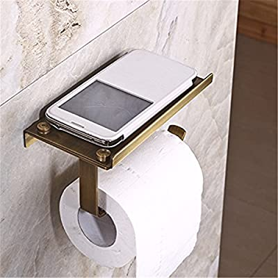 Leyden TM Creative Multifunction Antique Brass Toilet Paper Holder with Phone Self Cover Wall Mounted