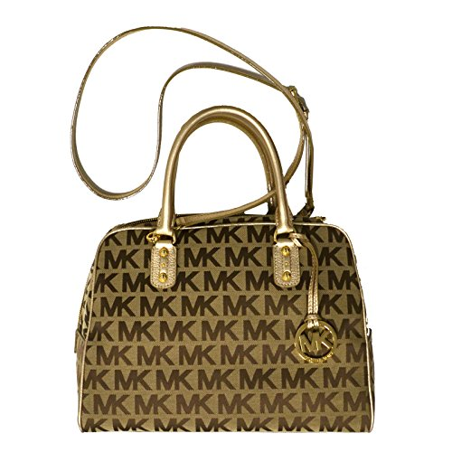 Michael Kors MK Signature LG Satchel Handbag in - Gold Ebony
