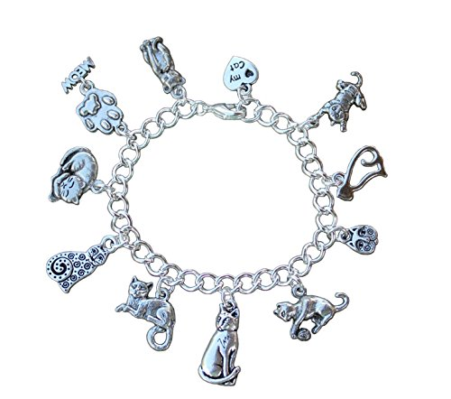 Silver Plated Love My Cat Charm Bracelet - Kitty Themed Charms on Chunky Silver Plated Chain- Size S (7 Inches (Small))