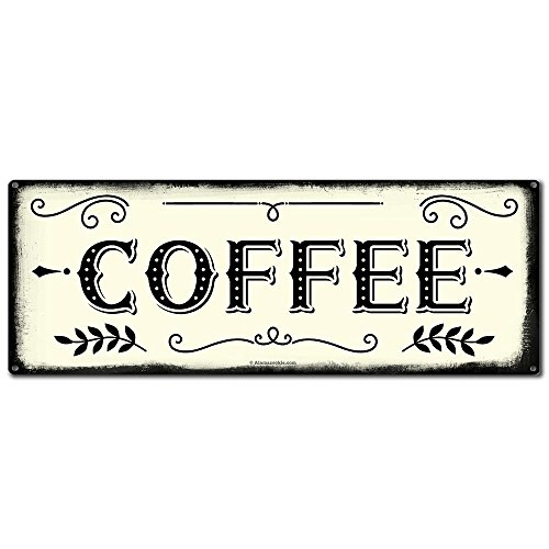 Coffee, 6 x 16 Inch Metal Farmhouse Sign, Rustic Vintage