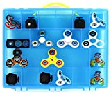 Fidget Carrying Case - Stores Dozens Of Spinners, Cubes, Bearings, Caps And LED Lights - Durable Toy Storage Organizers By Life Made Better - Blue