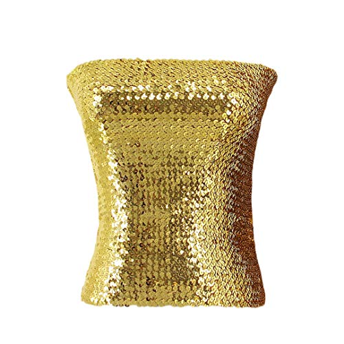Hoohu Women's Sexy Fashion Glitter Sequin Stretchy Strapless Seamless No-Padded Wrapped Chest Bandeau Tube Top -