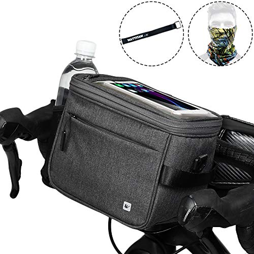 Bike Handlebar Bag – It Can Become a 4.5L Satchel for Camera – with Shoulder Strap & Handle, Touchable Phone Pocket, Mesh Bag, Rain Cover – Bicycle Front Bag, Bike Frame Bag, Bike Basket, Bike Pouch