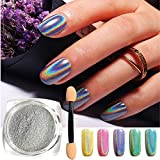 Holographic Nail Powder, Nail Laser Chrome Powder with Smooth Shimmer Unicorn Effect Pigment for Nail Art & Decoration (0.5g/Jar)