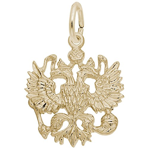 Russian Eagle Charm In 14k Yellow Gold, Charms for Bracelets and Necklaces ()