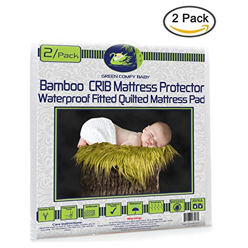 Crib Mattress Protector 2/pack ORGANIC BAMBOO All-IN-ONE sheet / protector by Green Comfy Baby WATERPROOF 3 layers fitted sheet crib pad cover 11