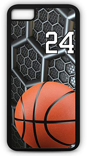 (iPhone 8 Plus 8+ Case Basketball BK038Z Choice of Any Personalized Name or Number Tough Phone Case by TYD Designs in Black Plastic and Black Rubber with Team Jersey Number 24)