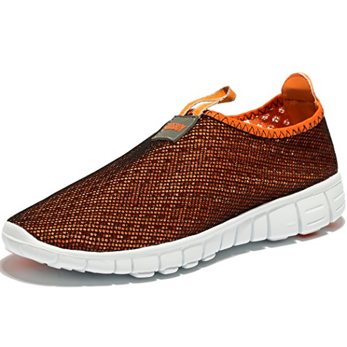 Men & Women Breathable Mesh Running Sport Tennis Outdoor Shoes,Beach Aqua,Athletic,Exercise,Slip Wave EU41 Orange by KENSBUY (Image #5)