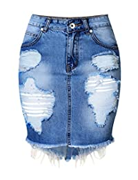 Crazy Women's High Waist Hole Jean Skirts Pencil Skirt