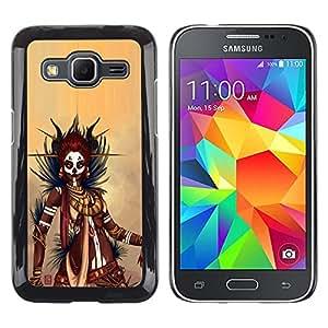 EJOY---Cubierta de la caja de protección la piel dura para el ** Samsung Galaxy Core Prime ** --Negro guerrero de la mujer