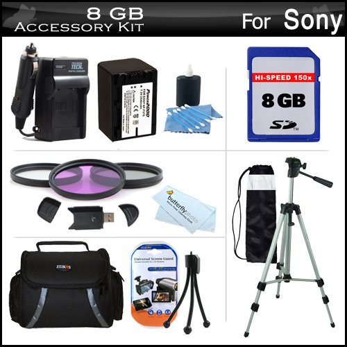 8GB Accessory Kit For Sony DCR-SX45 Handycam Camcorder Includes 8GB High Speed SD Memory Card + Replacement (2300Mah) NP-FV70 Battery + Ac / DC Charger + Deluxe Case + Tripod + 3PC Filter Kit (UV-CPL-FLD) + USB 2.0 SD Reader + More by ButterflyPhoto