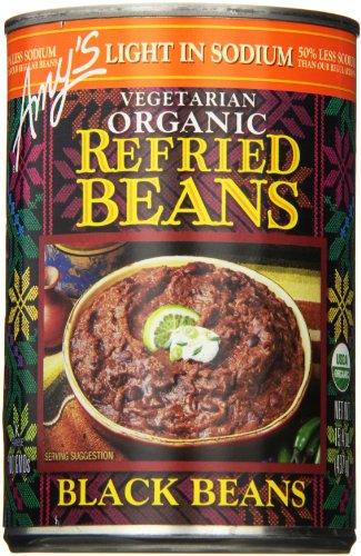 Amy's Light in Sodium Vegetarian Organic Refried Beans, Black, 15.4 Ounce (Pack of 6) (Amys Soup Black Bean)