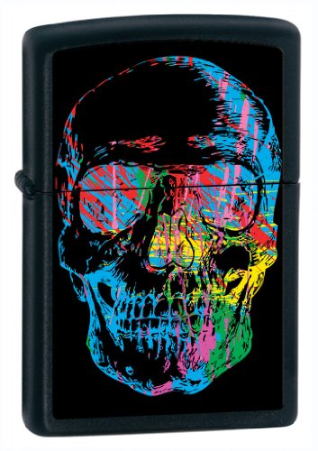 Neon Sketch Skull Black Zippo Matte (Zippo Lighters Bradford Pa)
