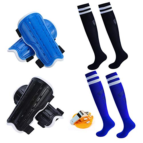 cGy 2 Pair Youth Soccer Shin Guards,Knee Soccer Socks with A Stainless Steel Whistle,Perforated Breathable & Protective Gear for 4-12 Years Old Boys,Girls,Teenagers,Kids