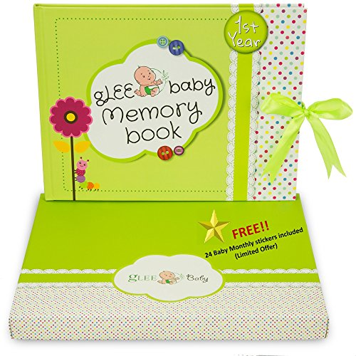 First Year Baby Memory Book - Gender Neutral | Scrapbook , Keepsakes & Photo Journal with monthly stickers | Perfect Baby Shower Gift