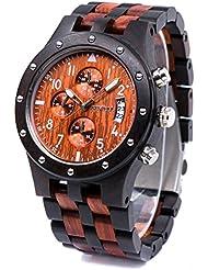 Bewell W109D Mens Wooden Watch Quartz Movement Date Display Luminous Sports Wristwatch