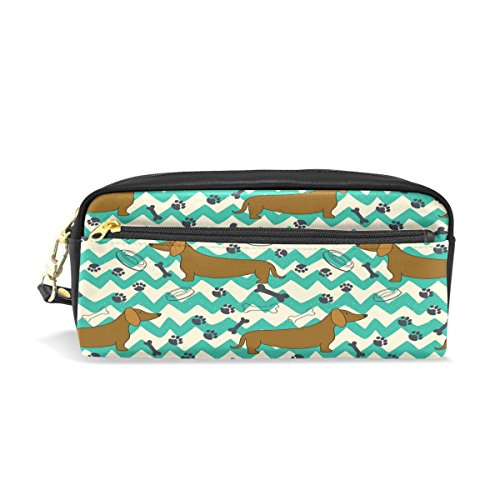 ALAZA Chevron Dachshund Dog Paw Print PU Leather Pen Pencil Case Pouch Case Makeup Cosmetic Travel School Bag