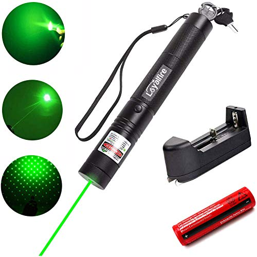 Green Light Pointer, Loyalfire Tactical High-Power Pen Visible Beam with Adjustable Focus for Hunting Hiking Outdoor Projector Travel Flashlight, Cat Dog Toy LED Interactive Baton