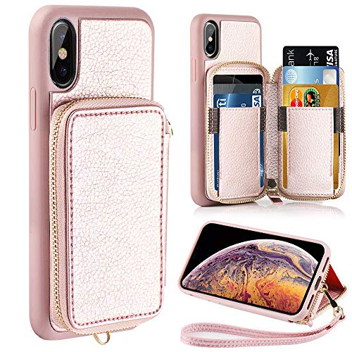 (ZVE Wallet Case for Apple iPhone Xs and iPhone X, 5.8 inch, Leather Wallet Case with Credit Card Holder Slot Zipper Wallet Pocket Purse Handbag Wrist Strap Case for Apple)