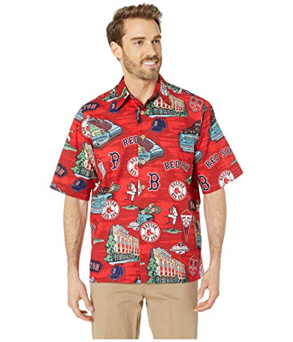 Reyn Spooner Men's Boston Red Sox MLB Classic Fit Hawaiian Shirt, Scenic 2019, Large