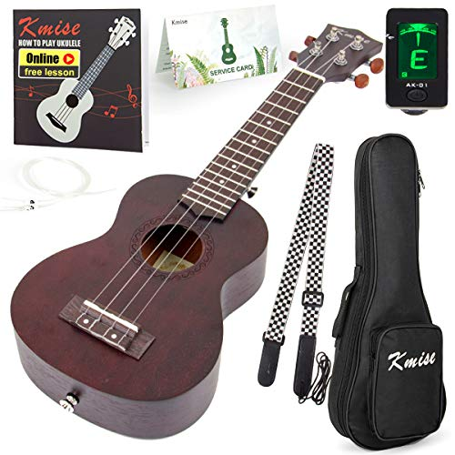 Kmise Beginner Ukulele Kit 4 String Vintage Soprano Ukele Right Hand 21 Inch Hawaiian Ukuleles With Starter Pack  ( Gig Bag Tuner Strap String Instruction Booklet ) (KME21S) from Kmise